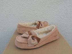 UGG BRONZER ANSLEY TWO-TONE BOW SUEDE/ WOOL MOCCASIN SLIPPER